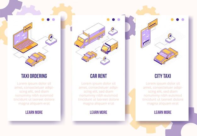 Modello di banner verticale. scene isometriche di affari sociali: telefono cellulare, computer portatile, automobile, camion, taxi, carta bancaria, concetto online di web