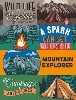 Modello di banner web con illustrazioni di un tant, falò, foresta e rocce.