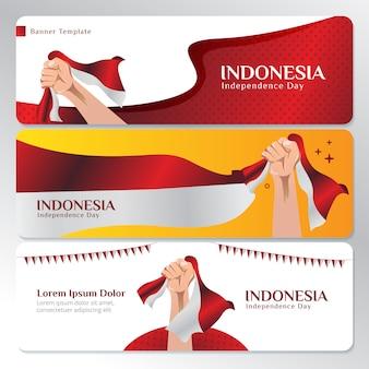 Modello di banner web con la bandiera nazionale indonesiana