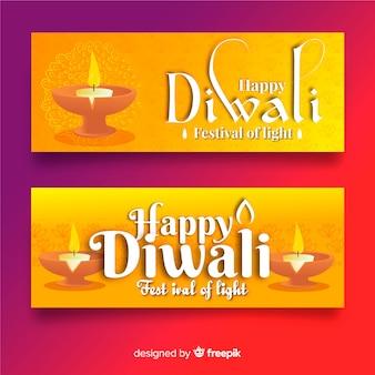 Modello di banner web design piatto diwali