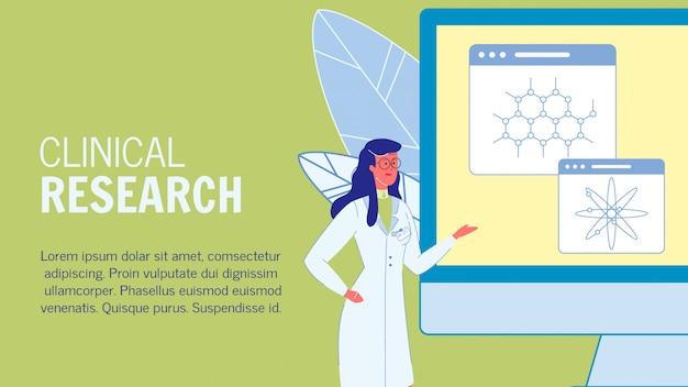 Modello di banner web di fumetto di ricerca clinica