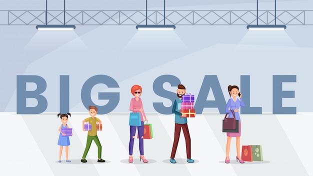 Modello di banner web grande vendita di centro commerciale