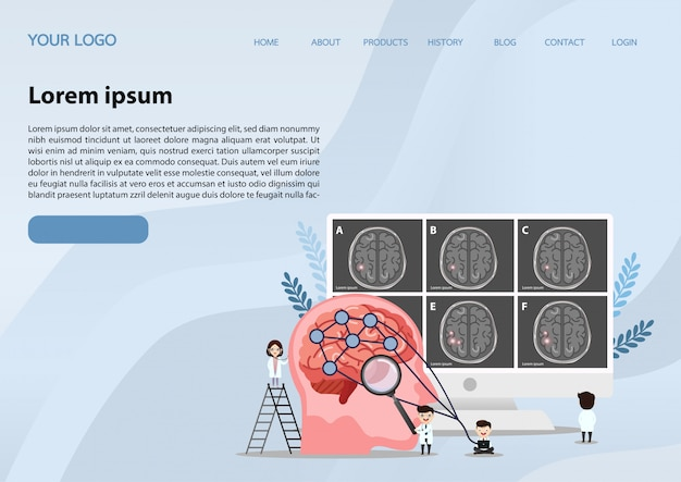 Modello di banner web, ictus del cervello umano.