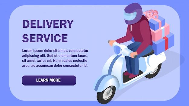 Modello di banner web isometrica di consegna