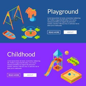 Modello di banner web isometrico parco giochi vettoriale. carte per l'infanzia e il divertimento