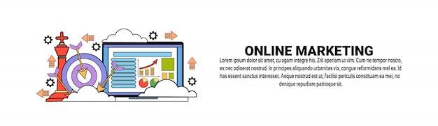 Modello di banner web orizzontale concetto di business di marketing online