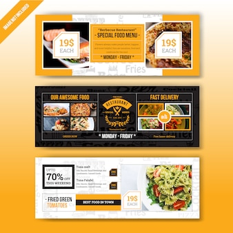 Modello di banner web ristorante cibo menu