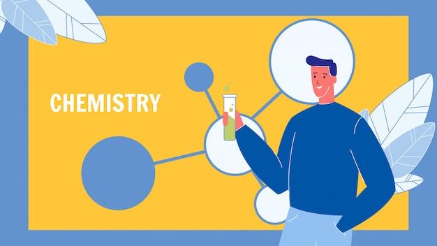 Modello di banner web vettoriale chimica con testo