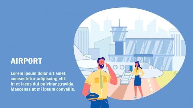 Modello di banner web vettoriale di aeroporto con lo spazio del testo