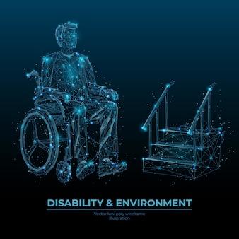Modello di banner wireframe poli basso disabilità e ambiente. accessibilità social media post design poligonale. persona disabile in sedia a rotelle 3d mesh art con punti collegati