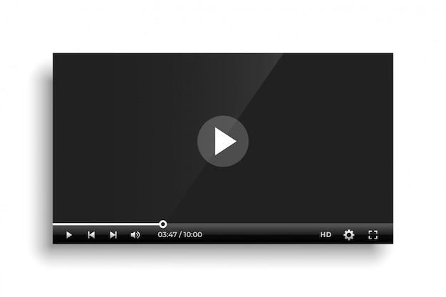 Modello di barra del lettore video nero lucido