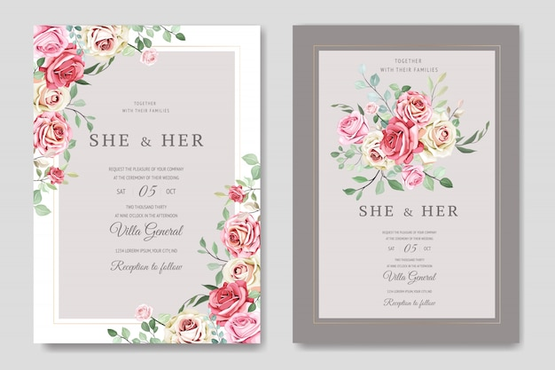 Modello di bella carta di nozze con bellissimi fiori e foglie