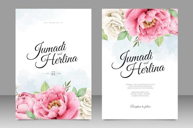 Modello di bella carta di nozze di peonia aquarel