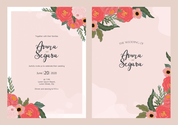 Modello di bella carta floreale invito a nozze