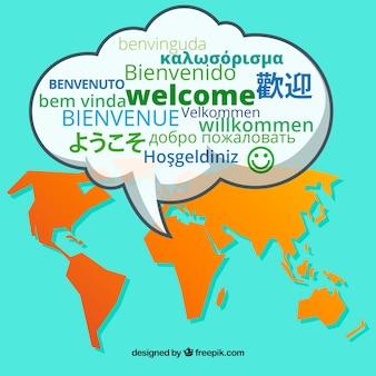 Modello di benvenuto in diverse lingue