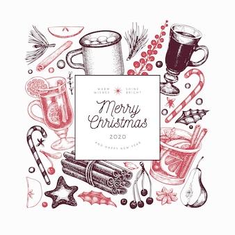 Modello di bevande invernali. vin brulè disegnato a mano stile inciso, cioccolata calda, illustrazioni di spezie. sfondo di natale vintage.