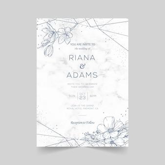 Modello di biglietti d'invito matrimonio elegante con decorazione floreale dell'acquerello