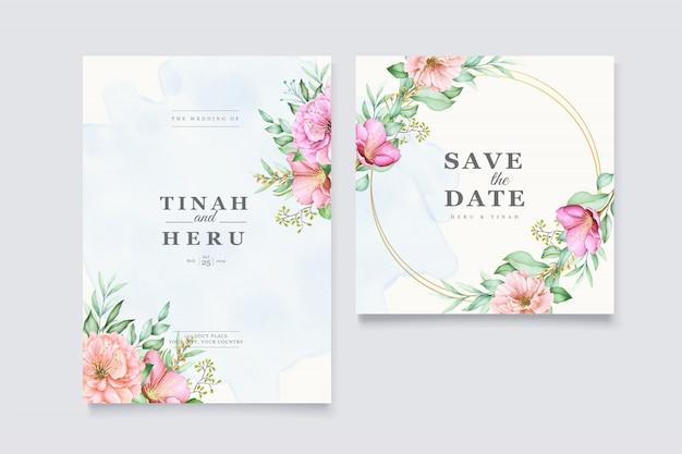 Modello di biglietti d'invito matrimonio elegante con disegno ad acquerello fiore di ciliegio