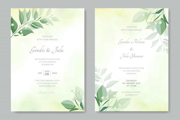 Modello di biglietti d'invito matrimonio semplice vintage con foglie di verde