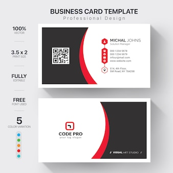Modello di biglietti da visita aziendale con variazione di colore