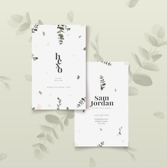 Modello di biglietti da visita di foglie minimalista