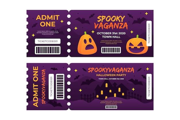 Modello di biglietti di halloween design piatto