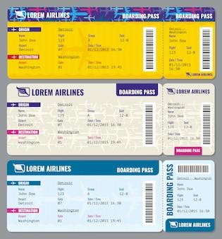 Modello di biglietti di viaggio aereo