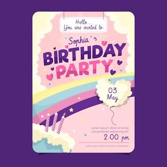 Modello di biglietto d'auguri per bambini con torta