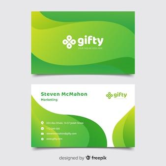 Modello di biglietto da visita astratto verde