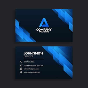 Modello di biglietto da visita aziendale blu moderno