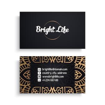 Modello di biglietto da visita aziendale con design di lusso etnico, stile boho