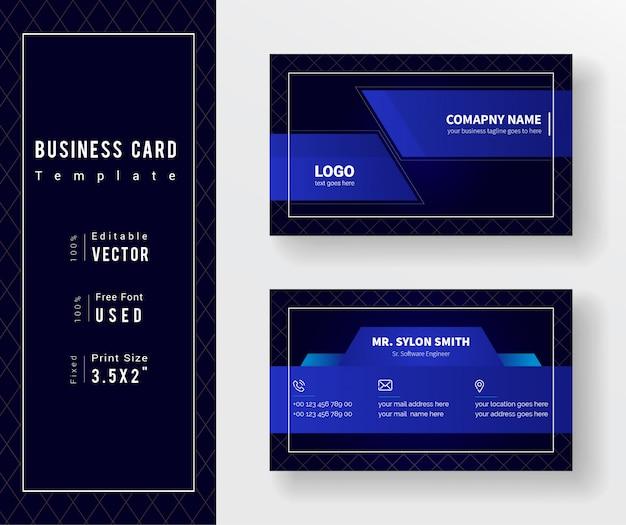 Modello di biglietto da visita aziendale elegante nero e blu