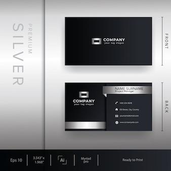 Modello di biglietto da visita aziendale moderno con stile argento e metallo