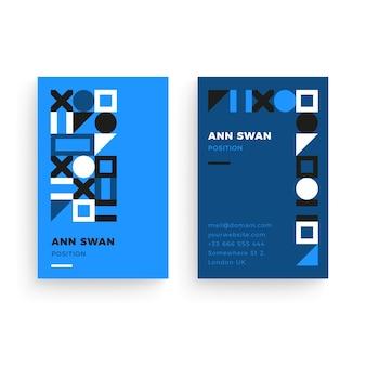 Modello di biglietto da visita blu astratto