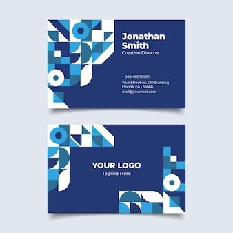 Modello di biglietto da visita blu classico moderno