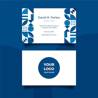 Modello di biglietto da visita blu classico