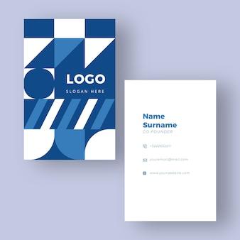 Modello di biglietto da visita blu e bianco