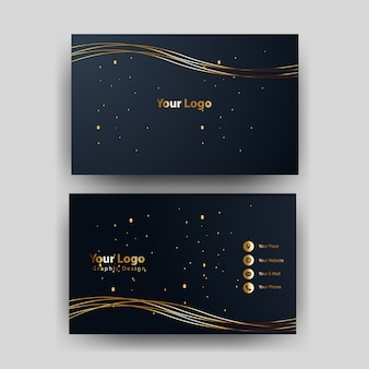 Modello di biglietto da visita blu e oro