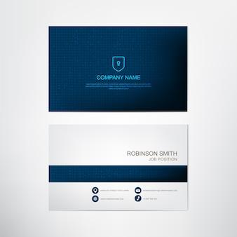 Modello di biglietto da visita blu moderno, contatto e progettazione di carte aziendali