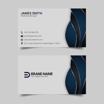 Modello di biglietto da visita blu moderno, design professionale biglietto da visita