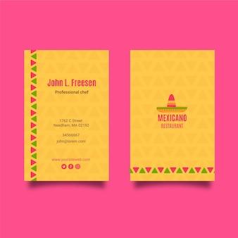 Modello di biglietto da visita cibo messicano
