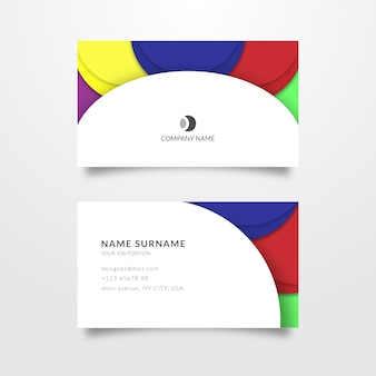 Modello di biglietto da visita colorato astratto