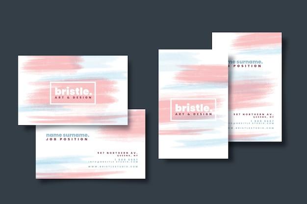 Modello di biglietto da visita colorato con macchie di colore pastello