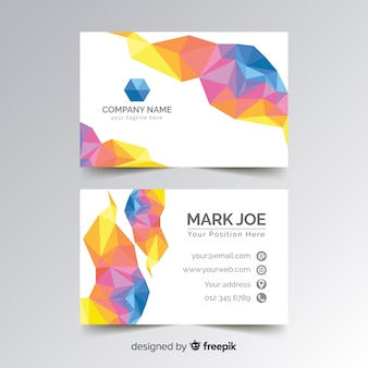 Modello di biglietto da visita colorato poligonale astratto