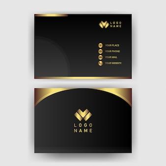 Modello di biglietto da visita con il nero geometrico moderno della carta di concetto dell'oro