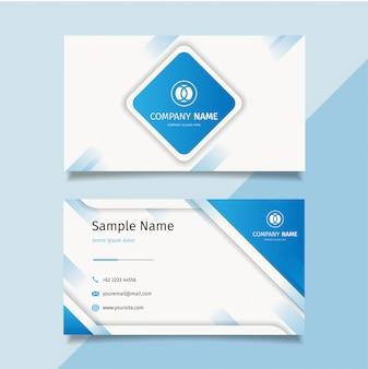 Modello di biglietto da visita creativo moderno blu, disegno vettoriale semplice modello pulito,