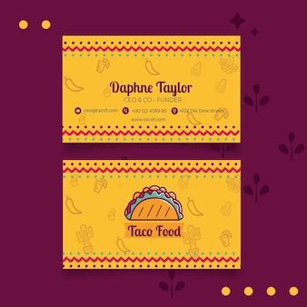 Modello di biglietto da visita del ristorante cibo taco