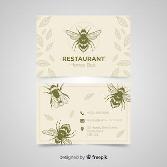 Modello di biglietto da visita del ristorante disegnato a mano
