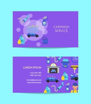 Modello di biglietto da visita del servizio di lavaggio auto
