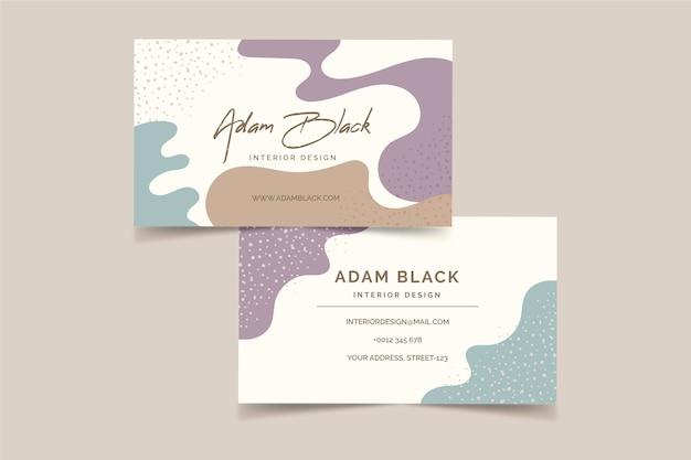 Modello di biglietto da visita di bstract con macchie di colore pastello